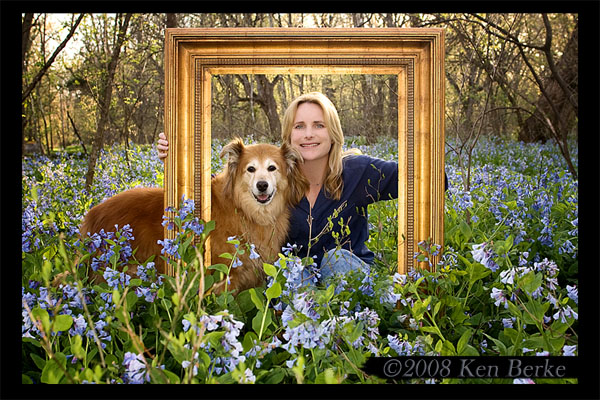 Robin and Chica in the Bluebells.  Photo by Ken Berke, April 2008.