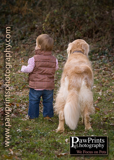 dog and child standing